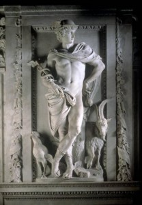 Mercury by 17th-century Flemish sculptor Artus Quellinus, identified by his hat, drawstring purse, caduceus, winged sandals, cock (rooster), and goat (Source:Wikipedia)