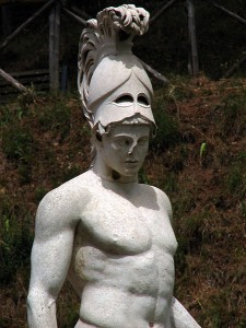Helmeted young warrior, so-called Ares. Roman copy from a Greek original—this is a plaster replica, the original is now stored in the Museum of the Villa. Canope at the Villa Adriana in Tivoli.