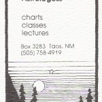 "Taos Business Card.  Note ""Astrologess"".  It was the eighties!"