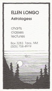 """Taos Business Card.  Note """"Astrologess"""".  It was the eighties!"""