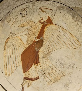 Aphrodite on a swan ca. 460. From tomb in Kameiros (Rhodes). (Source:Wikipedia)