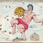 Aquarius pours water from a jar into the mouth of the southern fish, as depicted in Urania's Mirror, a set of constellation cards published in London c.1825. (Source:Wikipedia)