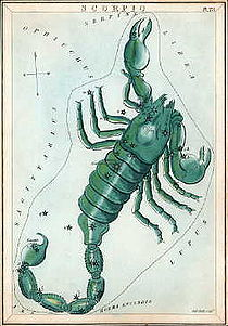 Scorpius as depicted in Urania's Mirror, a set of constellation cards published in London c.1825. (Source:Wikipedia)