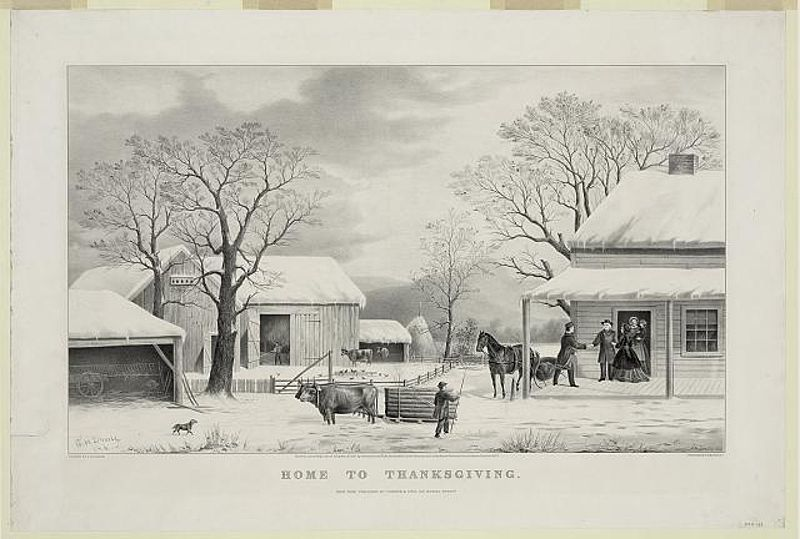 Lithograph, Home To Thanksgiving 1867 by Currier and Ives (Source:Wikipedia)