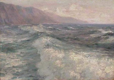 North Shore, Oahu, oil on panel painting by Lionel Walden, c. 1915.