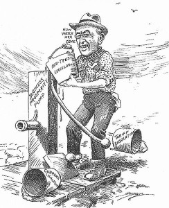 1914 US cartoon showing Progressive Woodrow Wilson (Source:Wikipedia)