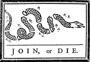 Political cartoon by Benjamin Franklin